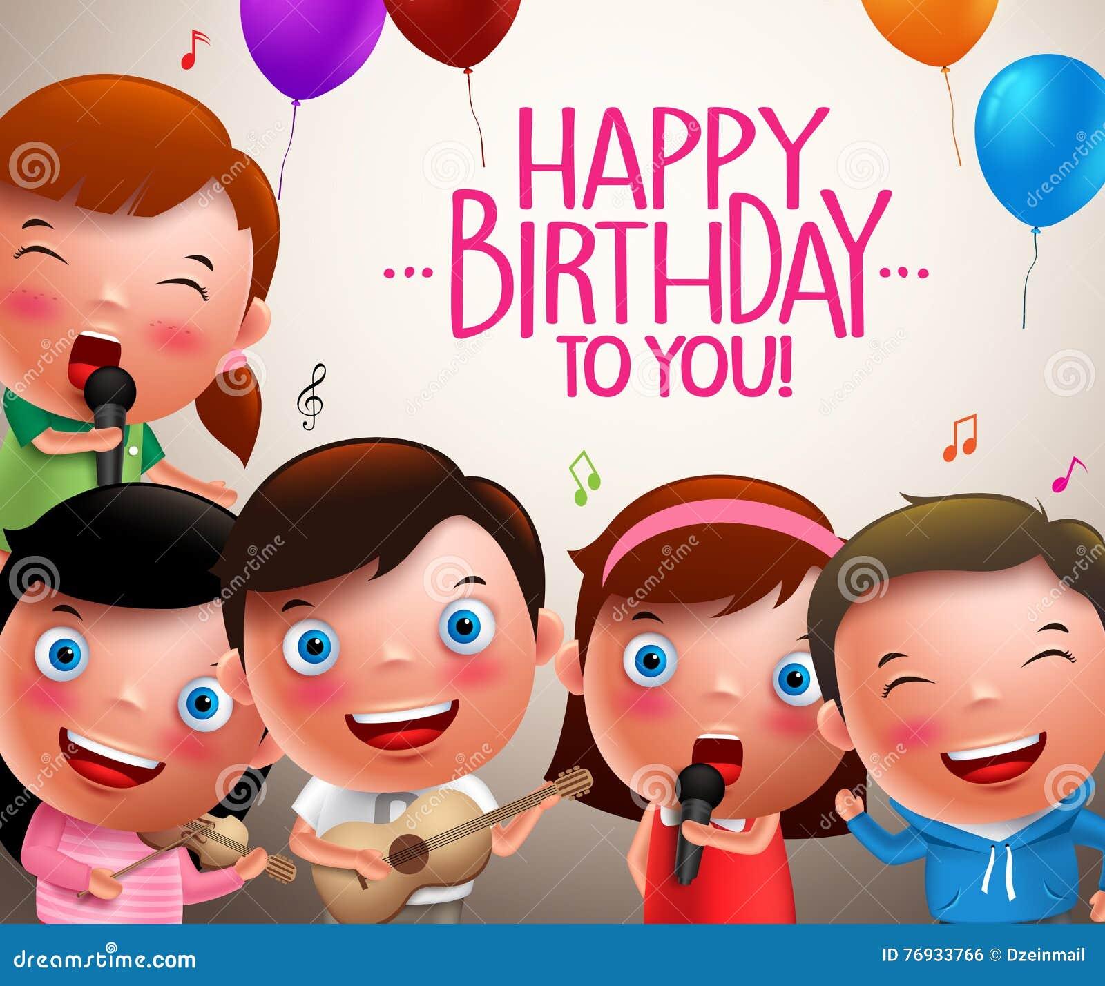 Caráteres do vetor das crianças que cantam o feliz aniversario e instrumentos musicais de jogo felizes