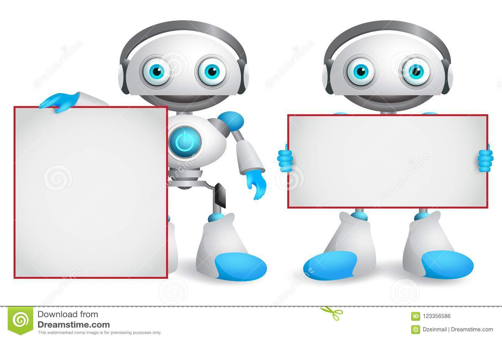 Caráteres do vetor do robô ajustados Robôs amigáveis e engraçados do androide