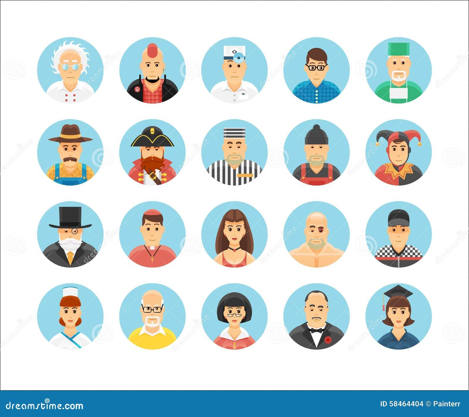 Caráteres e coleção dos ícones das pessoas Os ícones ajustaram a ilustração de ocupações, de estilos de vida, de nações e de cult