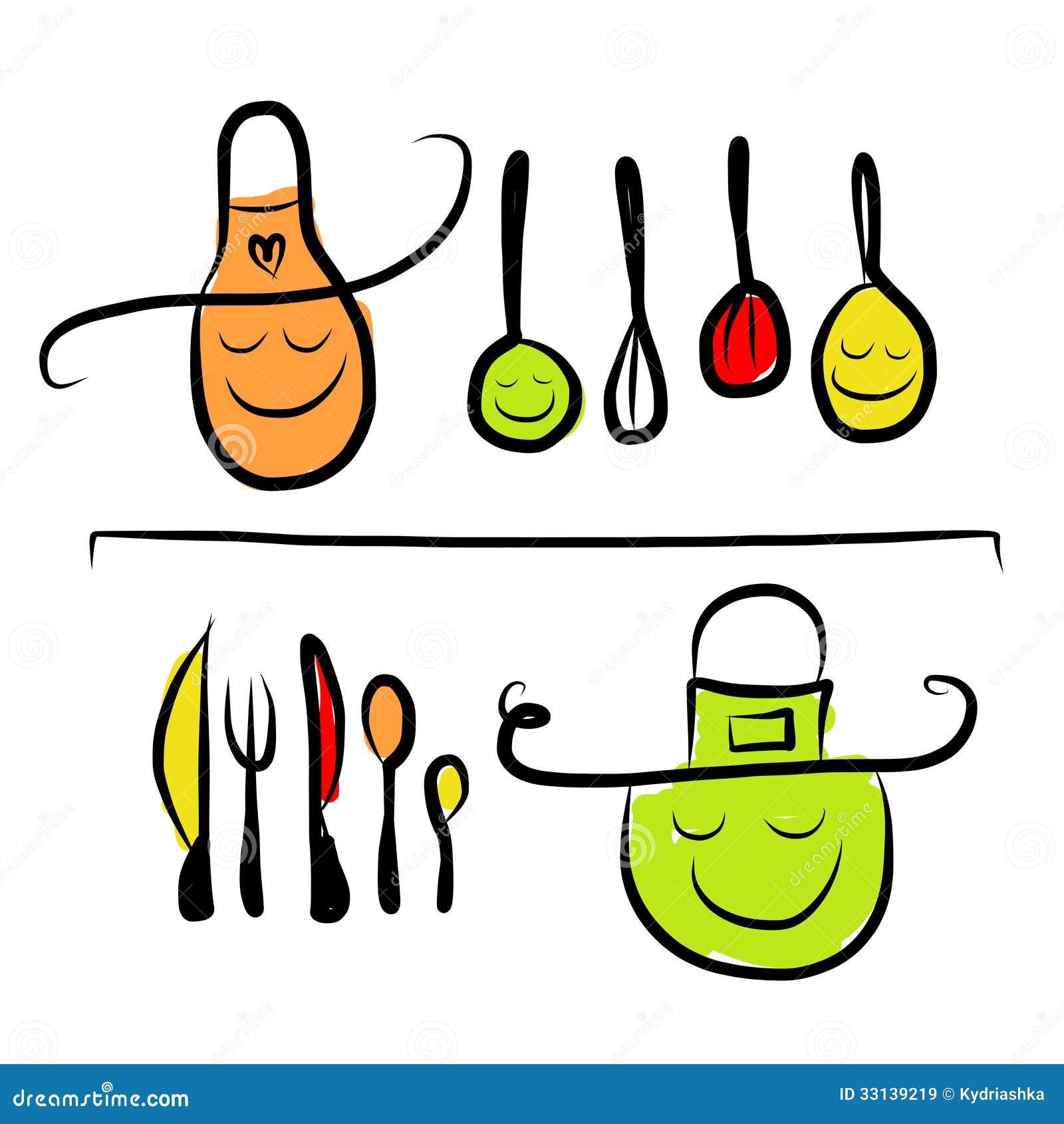 Car Teres Em Prateleiras Esbo O Dos Utens Lios Da Cozinha  ~ Desenho Utensílios De Cozinha