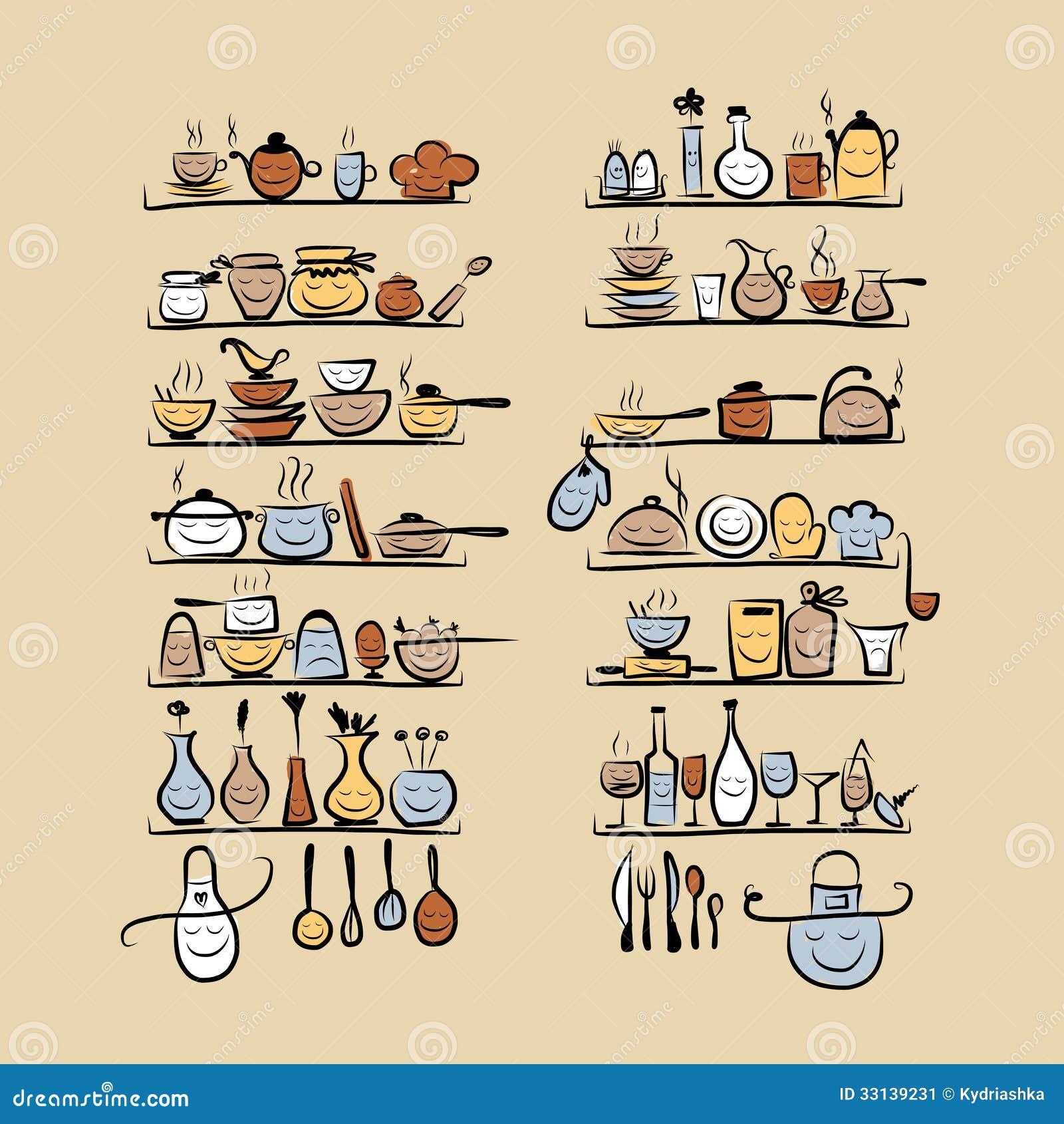 dos utensílios da cozinha nas prateleiras desenho de esboço para  #80A229 1300 1390