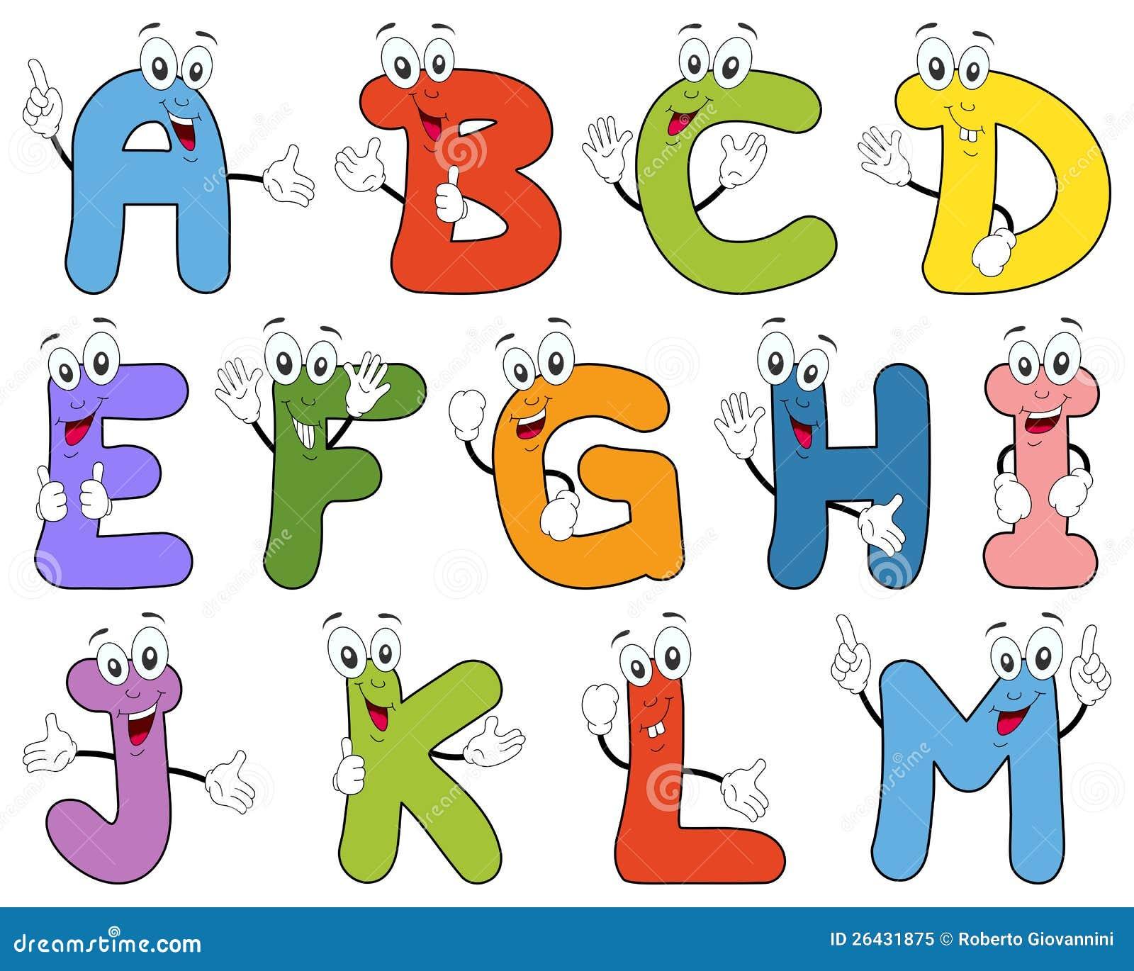 Caráteres A-M do alfabeto dos desenhos animados