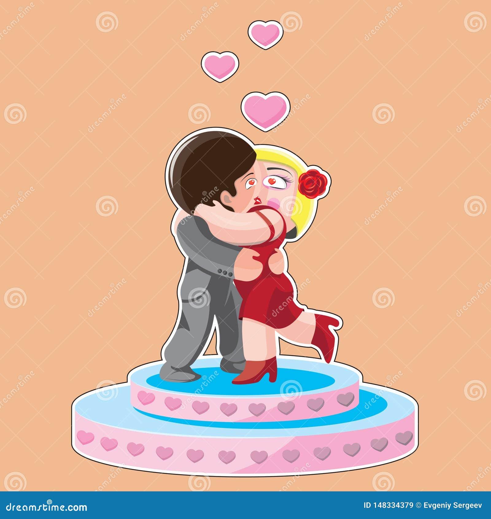 Caráteres mulher e homem que beija no pódio, desenhos animados, imagem do vetor
