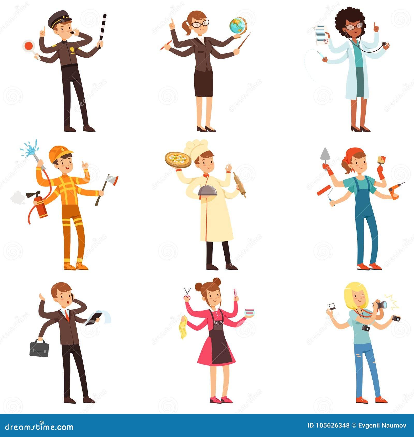 Caráteres a multitarefas lisos dos desenhos animados ajustados Homens e mulheres com muitas mãos Povos de profissões diferentes V