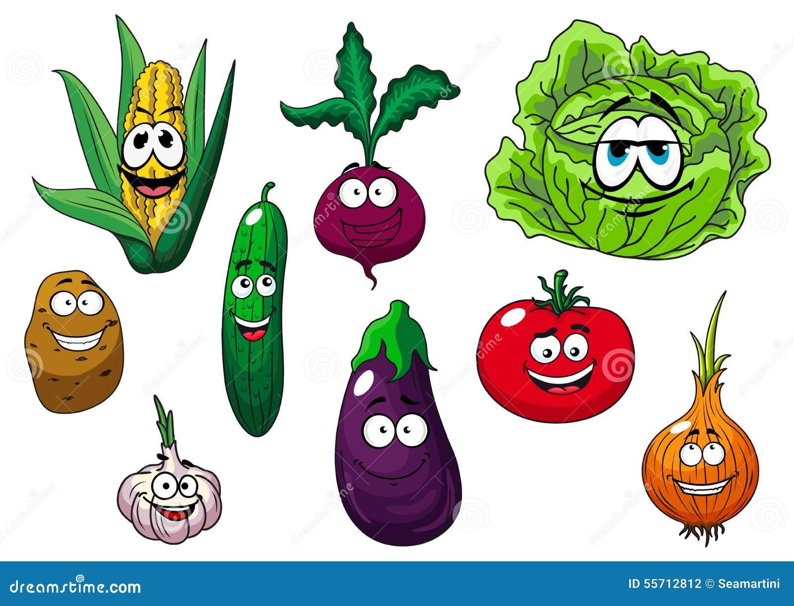 Carateres Saborosos Frescos Dos Vegetais Dos Desenhos Animados