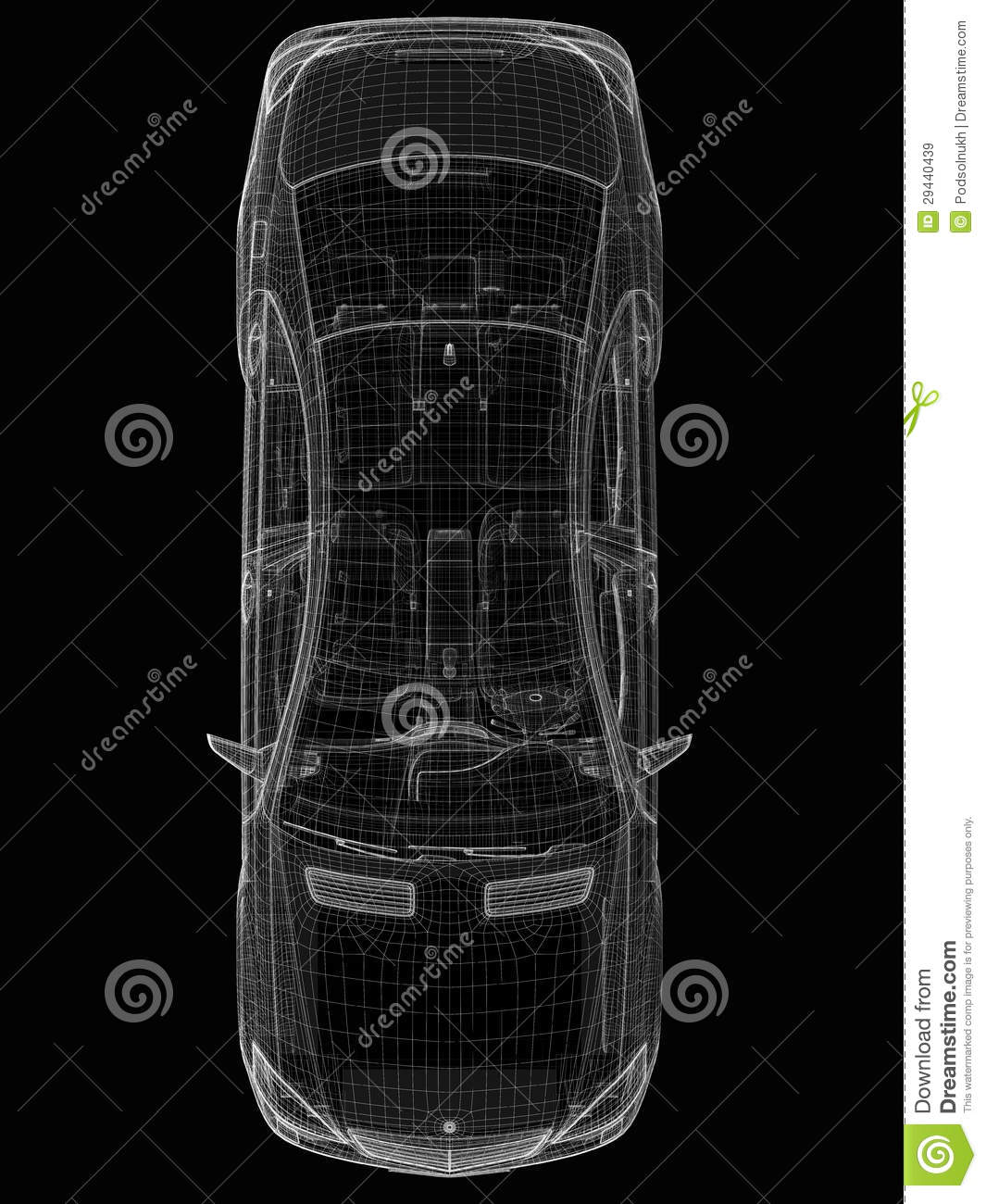 Car 3D Model, Top View Stock Illustration. Image Of Model