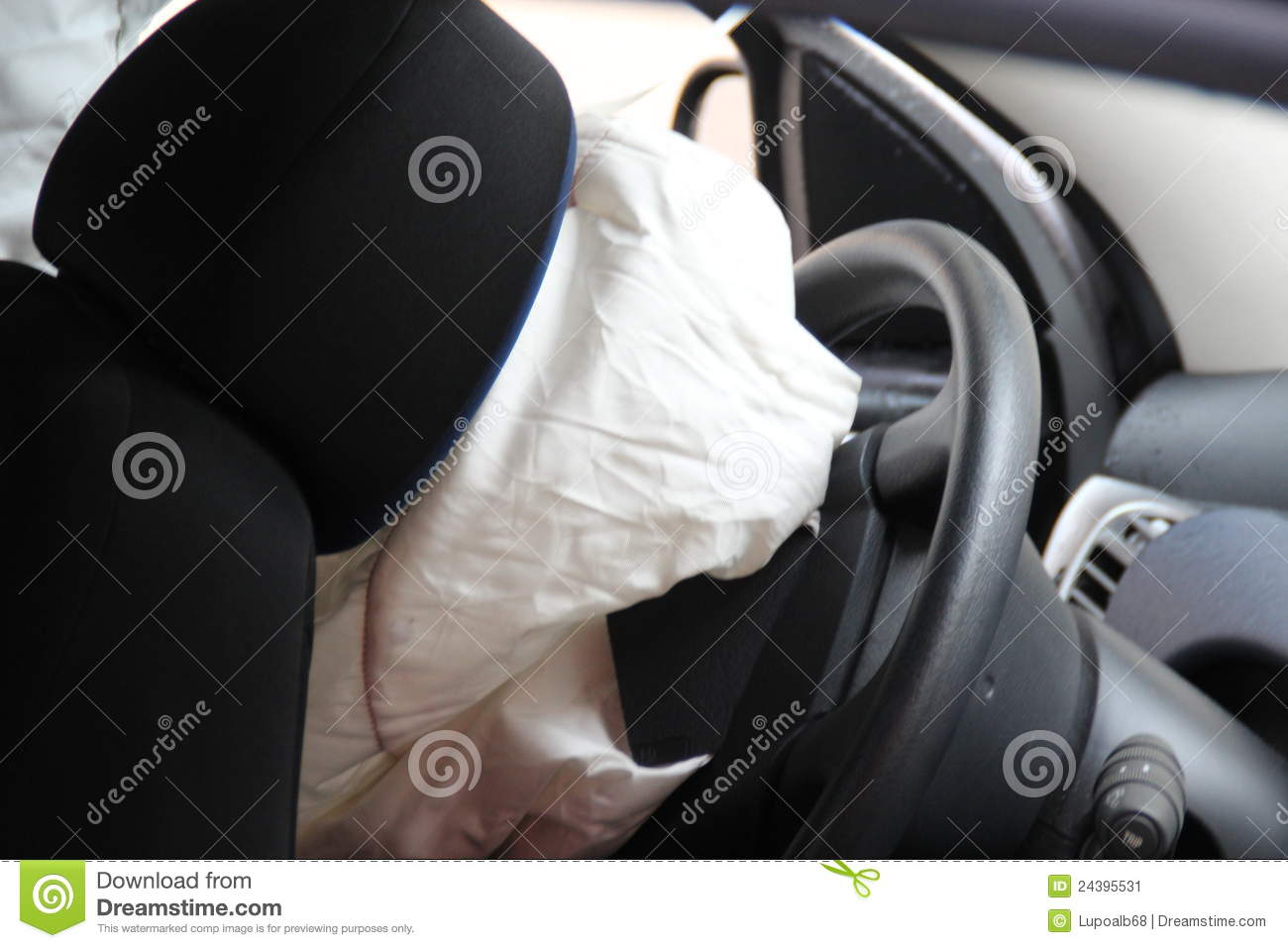 Car Accident Airbag Explosion Stock Image Image 24395531