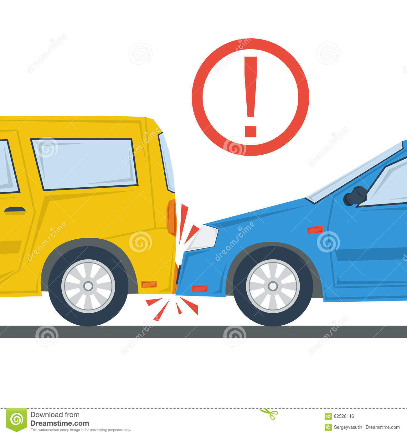 Car Accident Flat Illustration Isolated Stock Illustration