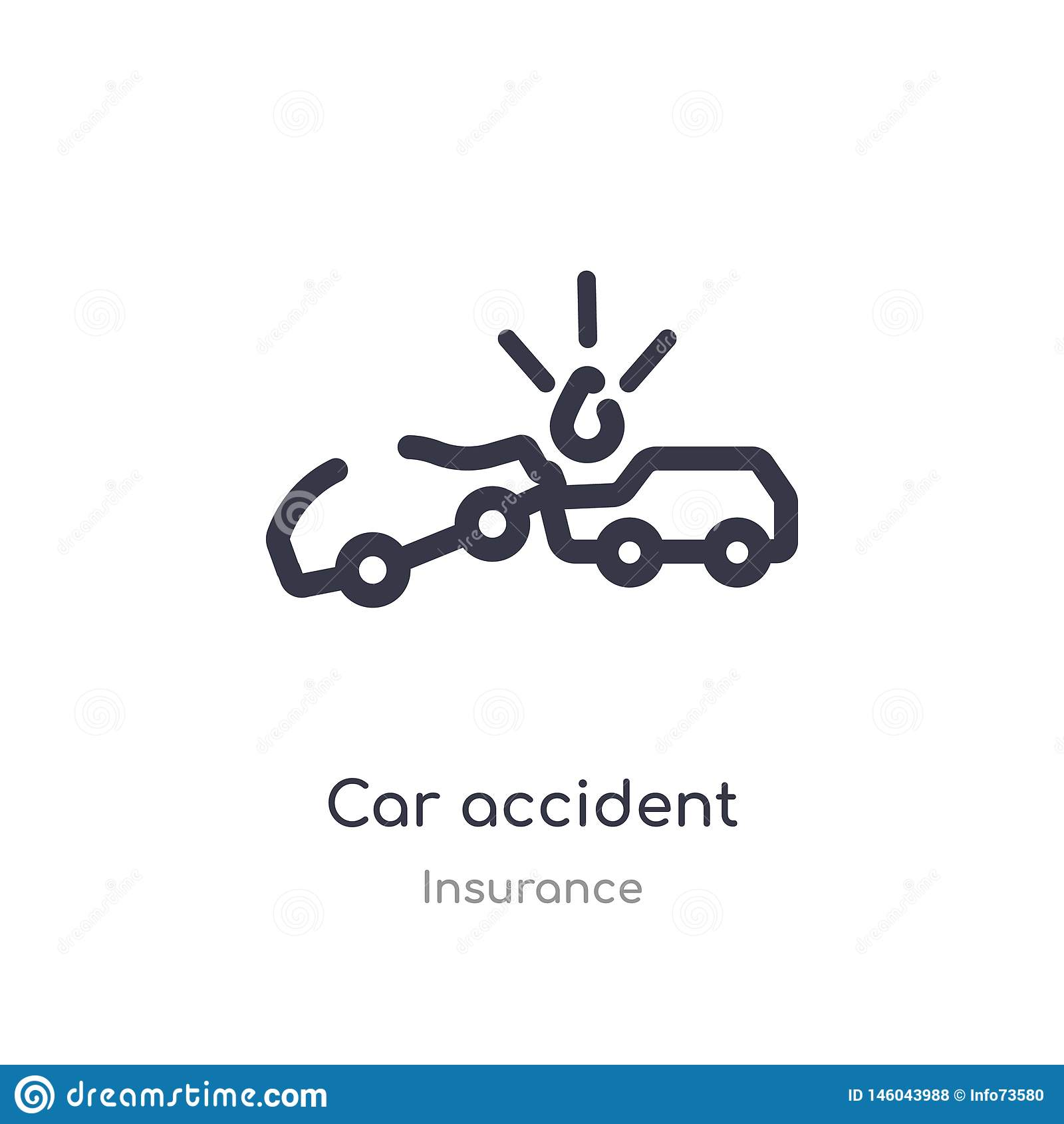 Car Accident Outline Icon Isolated Line Vector Illustration From