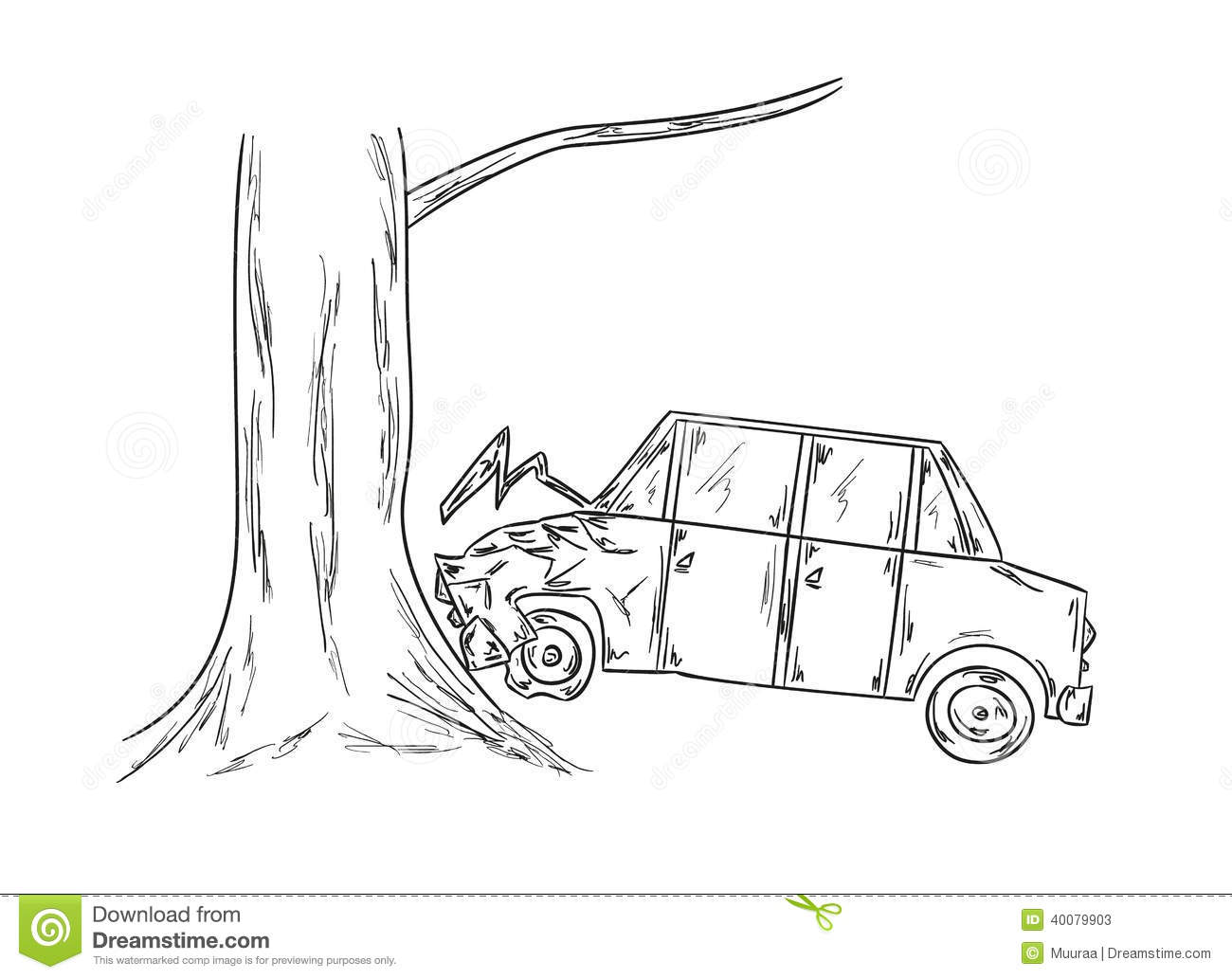 Car accident sketch stock vector. Illustration of danger - 40079903