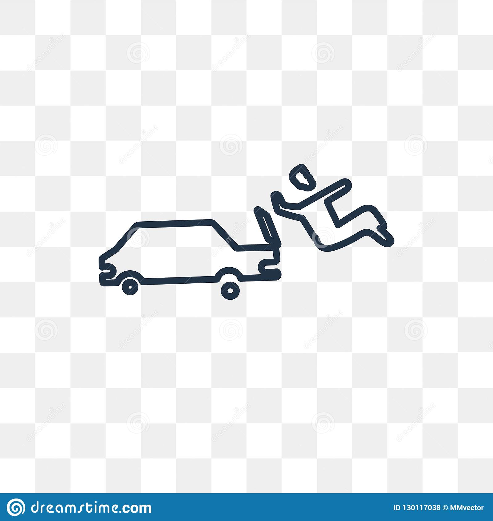 Car Accident Vector Icon Isolated On Transparent Background Lin
