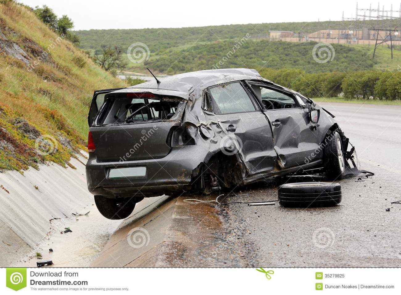 Car Accident and Wreckage stock image. Image of crushed - 35279825