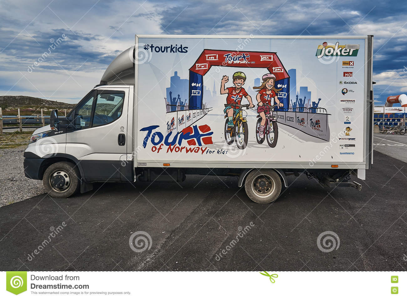 car with advertising tour of norway for kids editorial stock photo