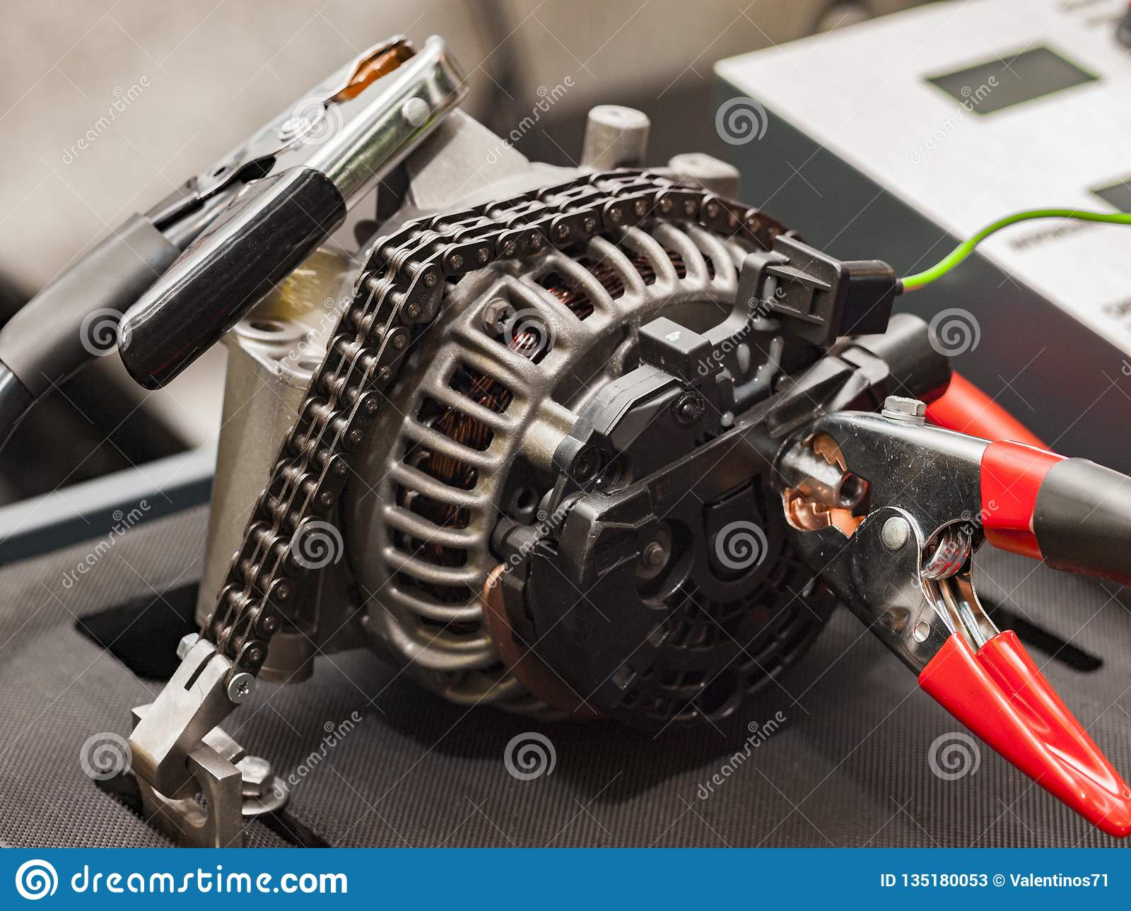 Car Alternator Repair At A Special Stand Stock Image Image Of Metallic Accessories 135180053