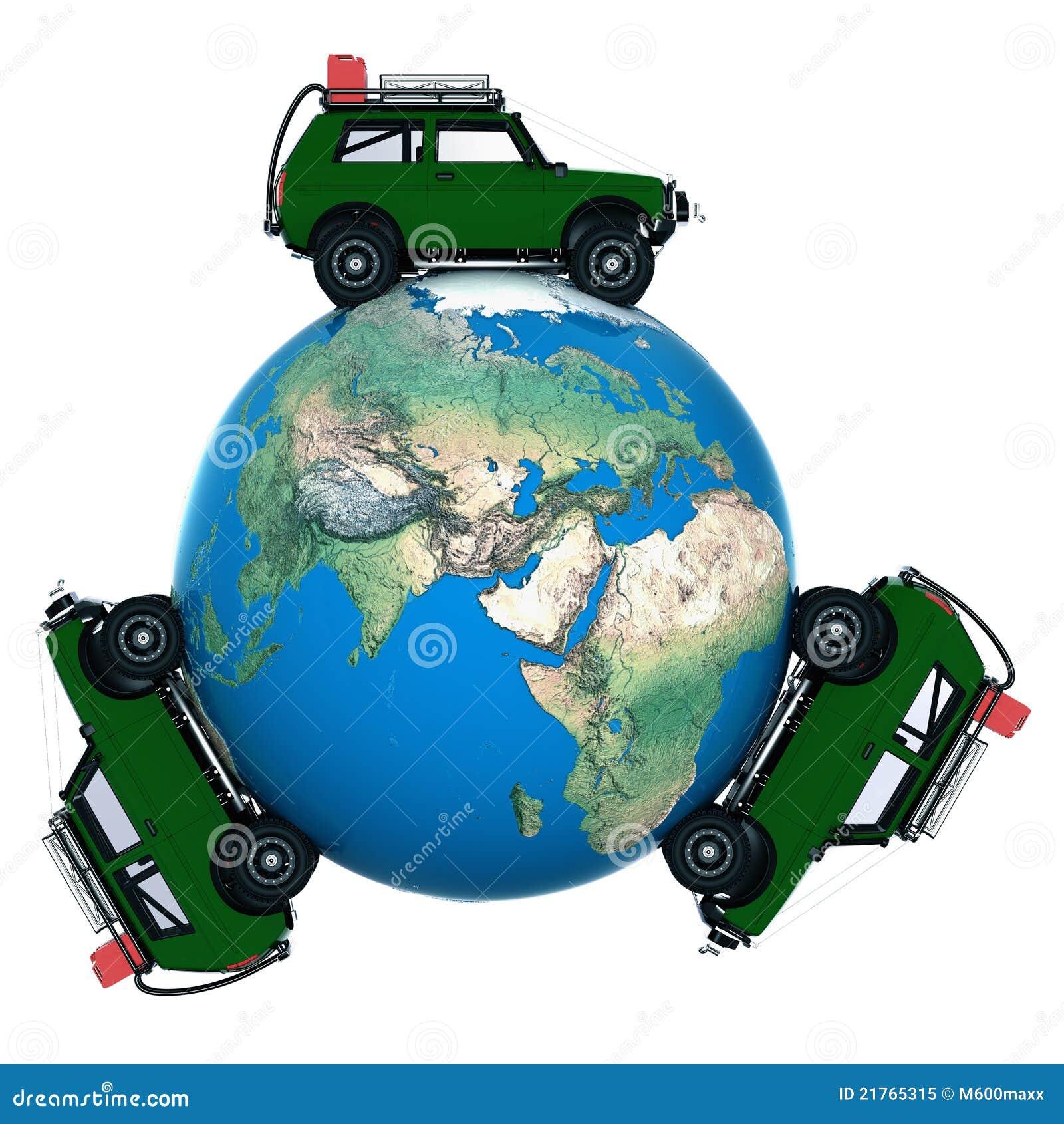 On Car Around The World Stock Illustration Illustration