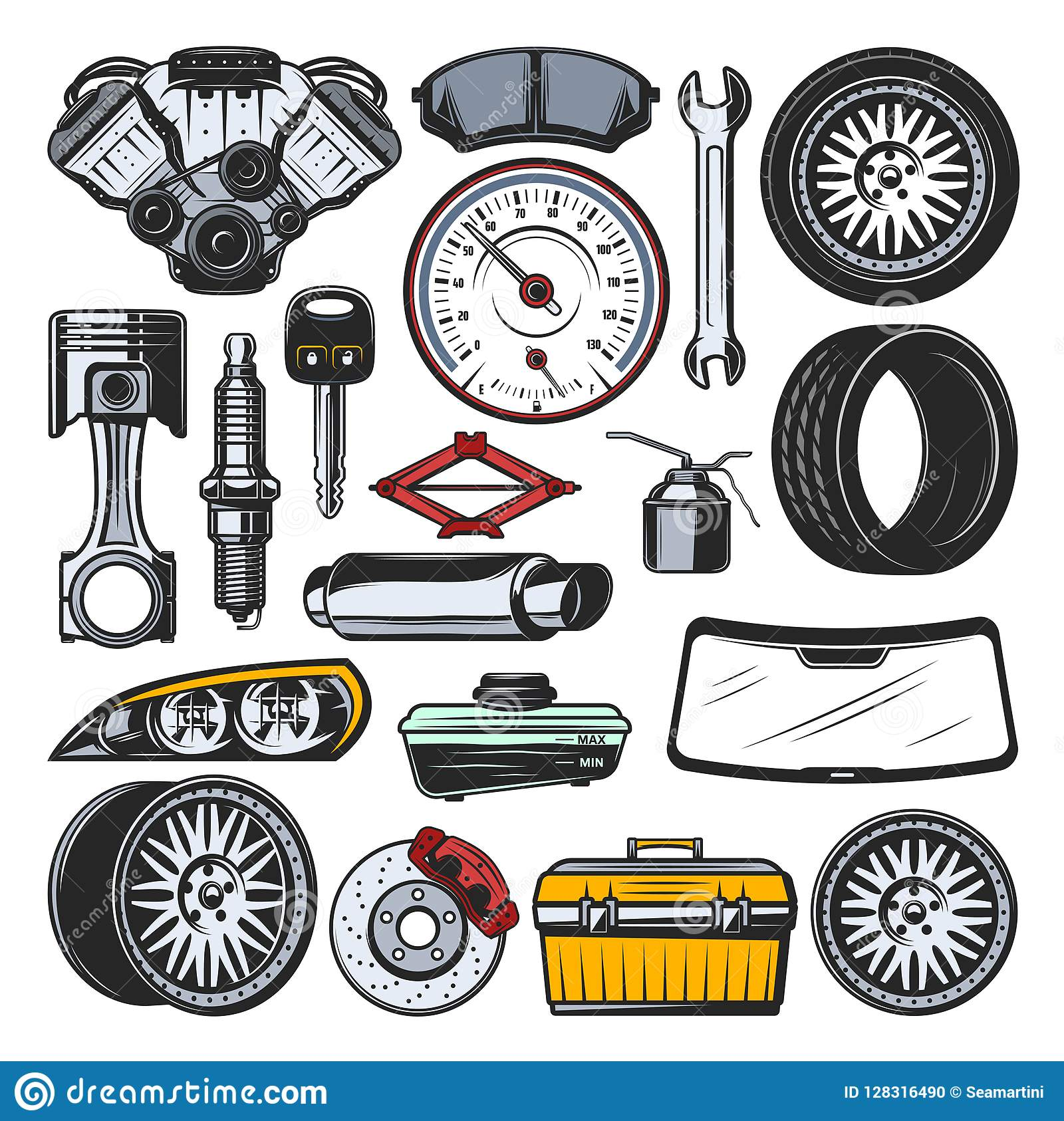 Car Auto Parts, Engine, Tires And Tools Stock Vector - Illustration