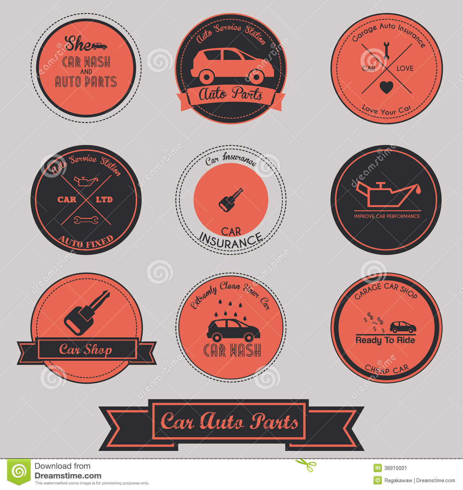 Car Auto Parts Vintage Label Design Stock Vector Illustration Of