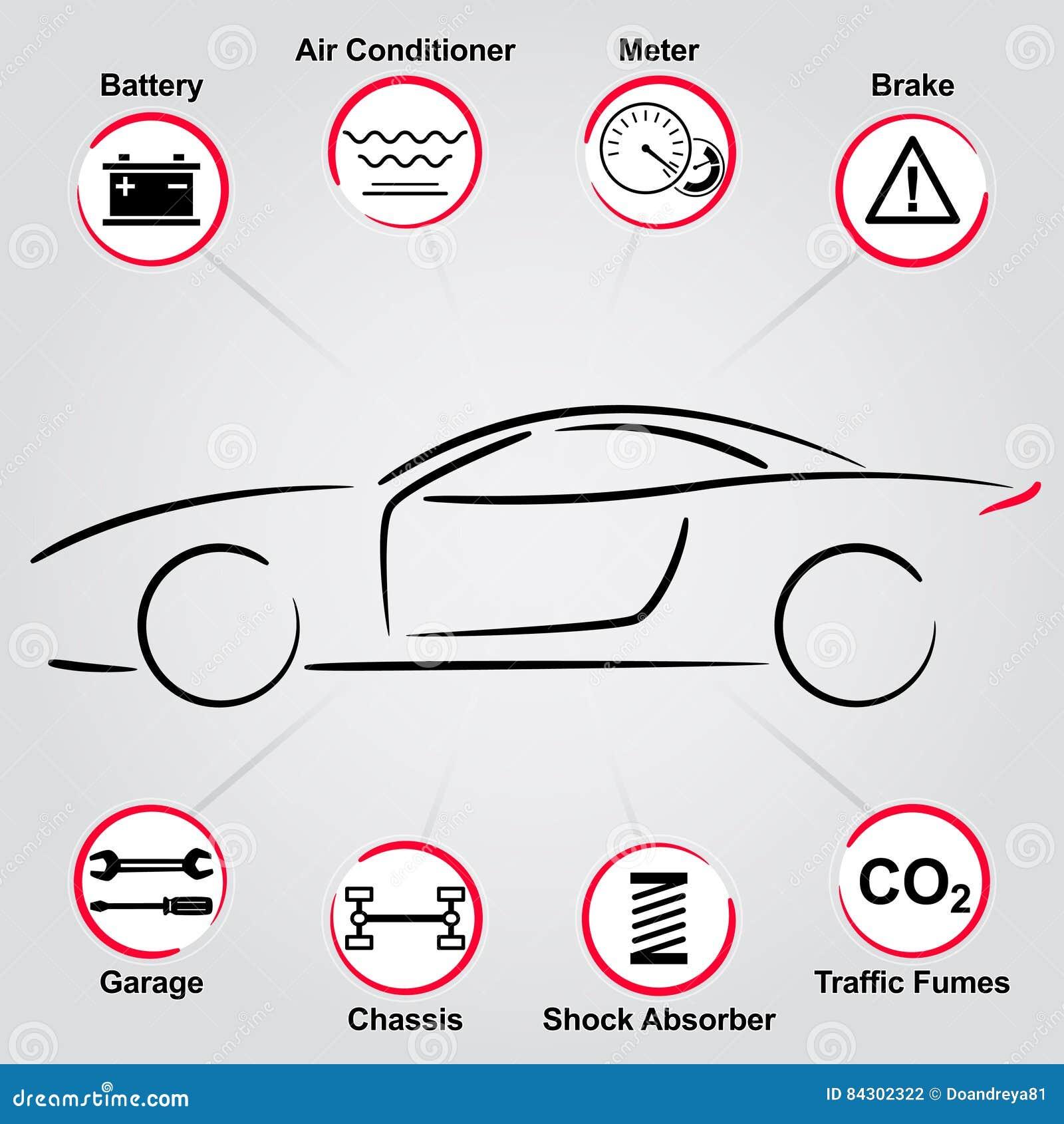 Car Auto Parts Vintage Label Design Stock Vector - Illustration of ...