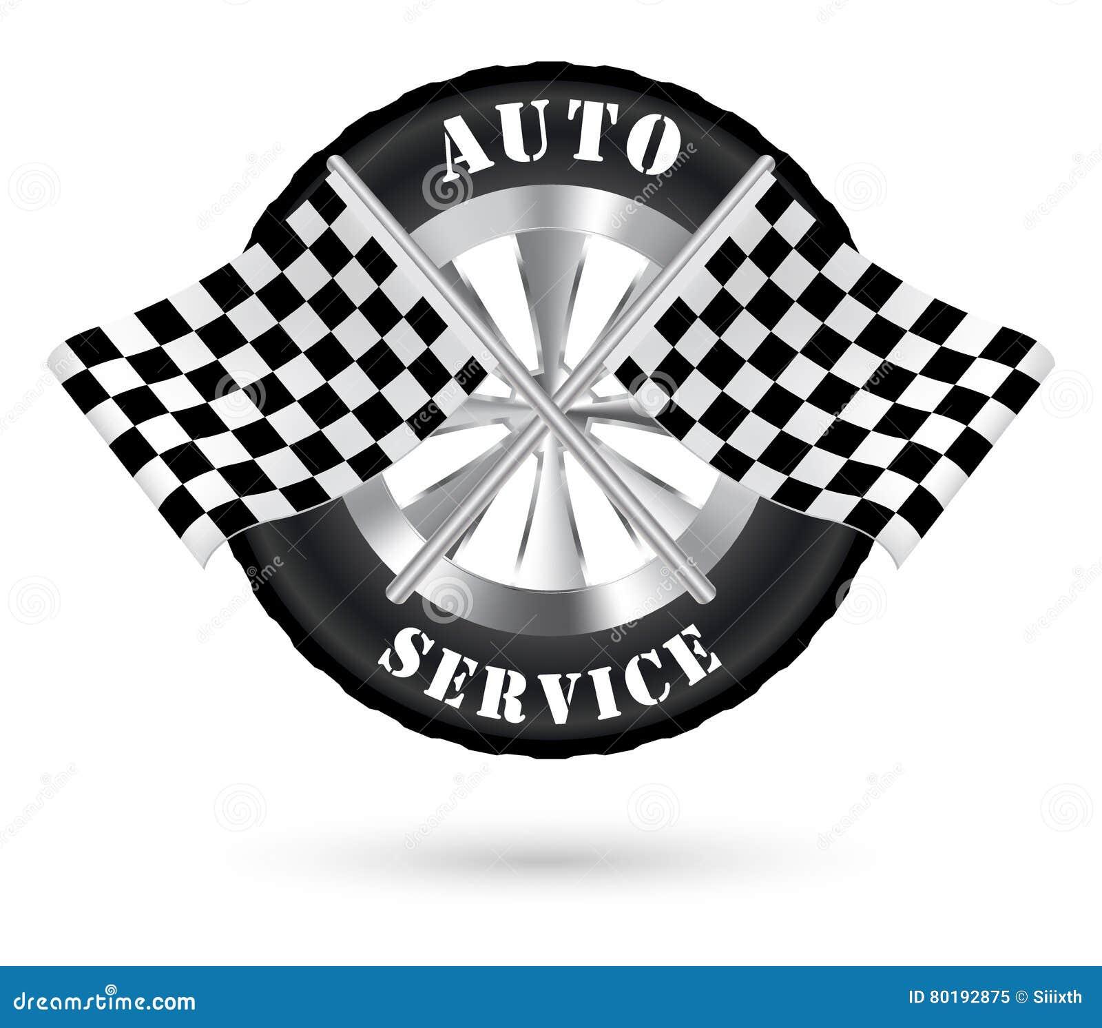 car auto service logo with racing flag stock vector