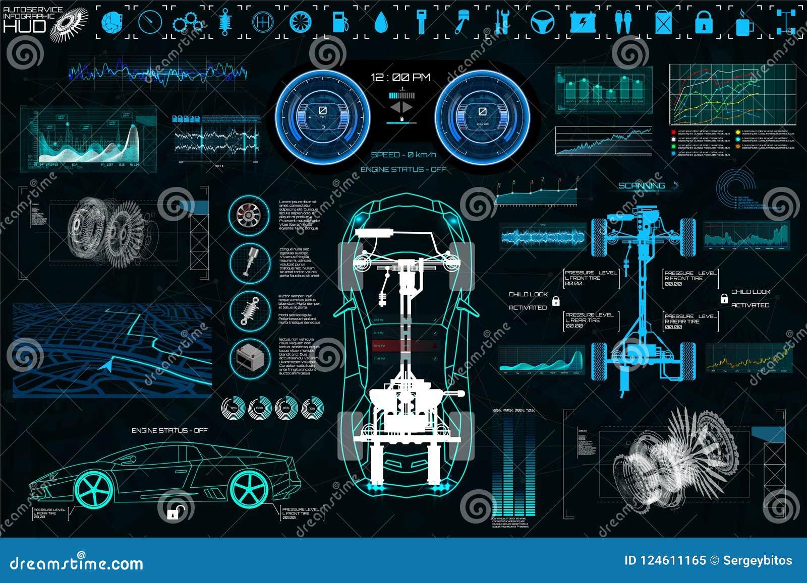 Car Service App: Car Auto Service, Modern Design HUD, Diagnostic Car Stock