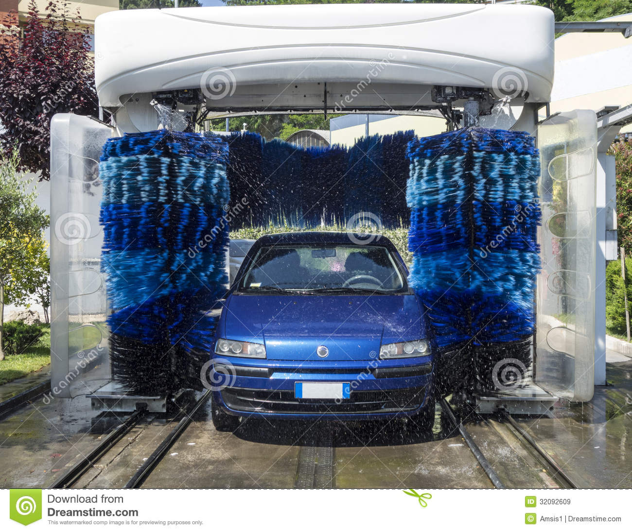 Car Wash Brush >> Car in Automatic Washing stock image. Image of business ...