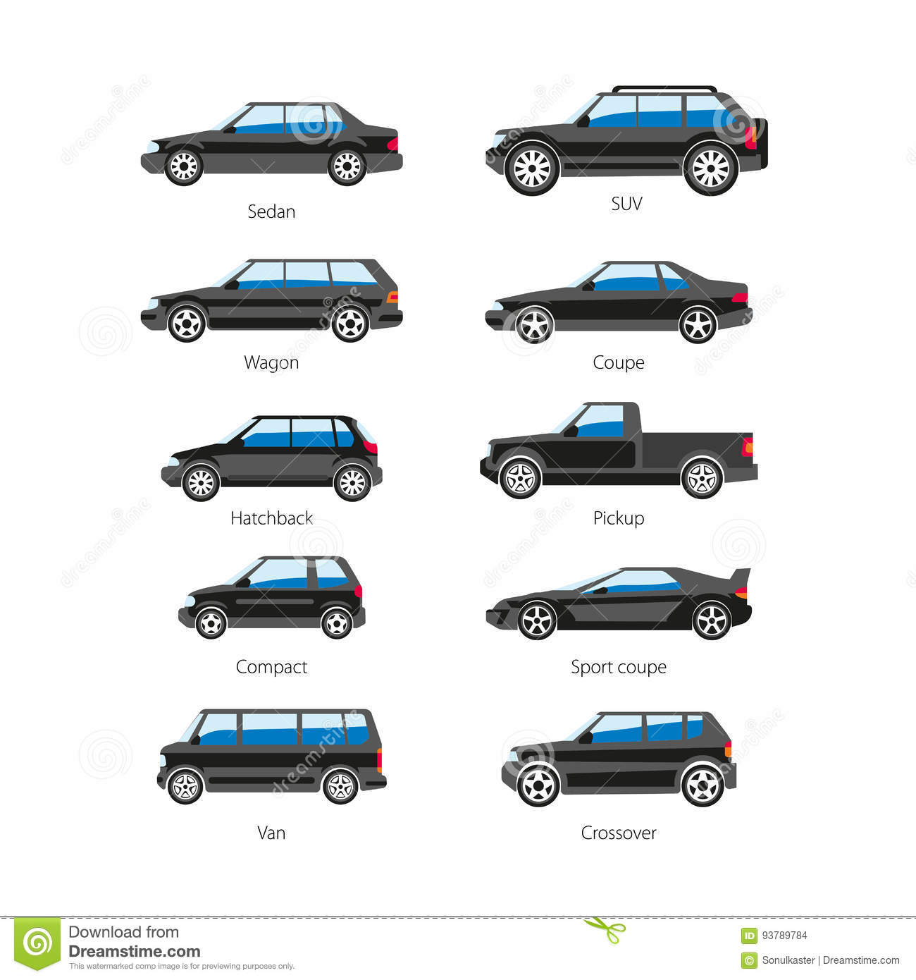 Car Or Automobile Body Type Names Vector Flat Isolated Icons Set