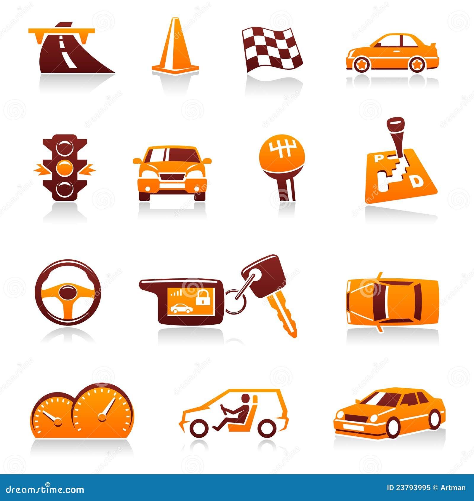 Car and automotive vector icon set