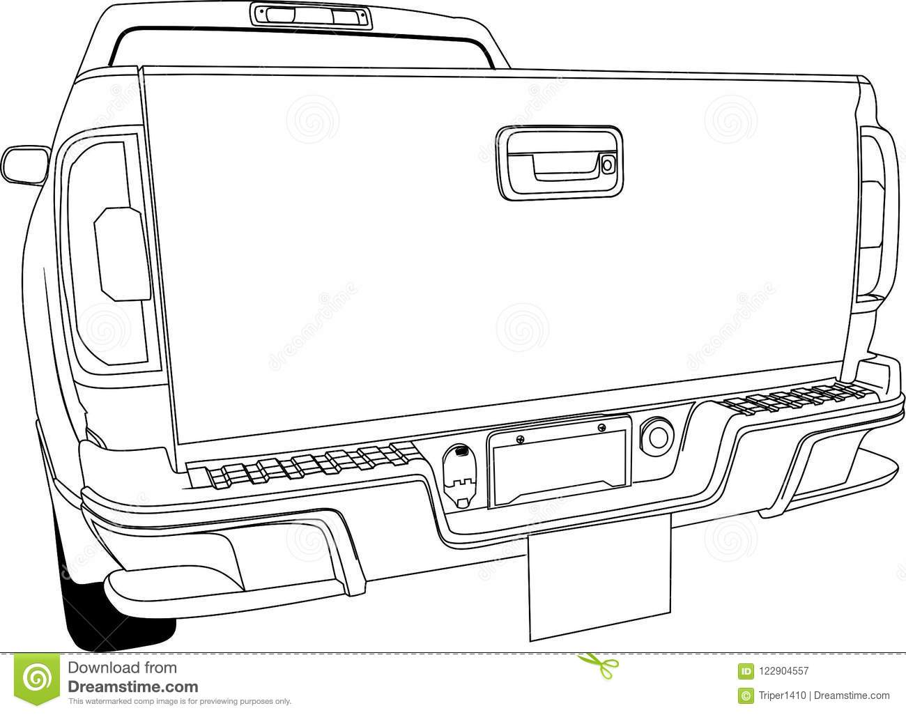 Car Back View Vector Outline Stock Vector