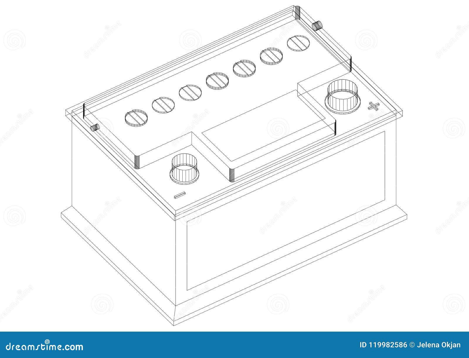 Car Battery Architect Blueprint Isolated Stock Illustration