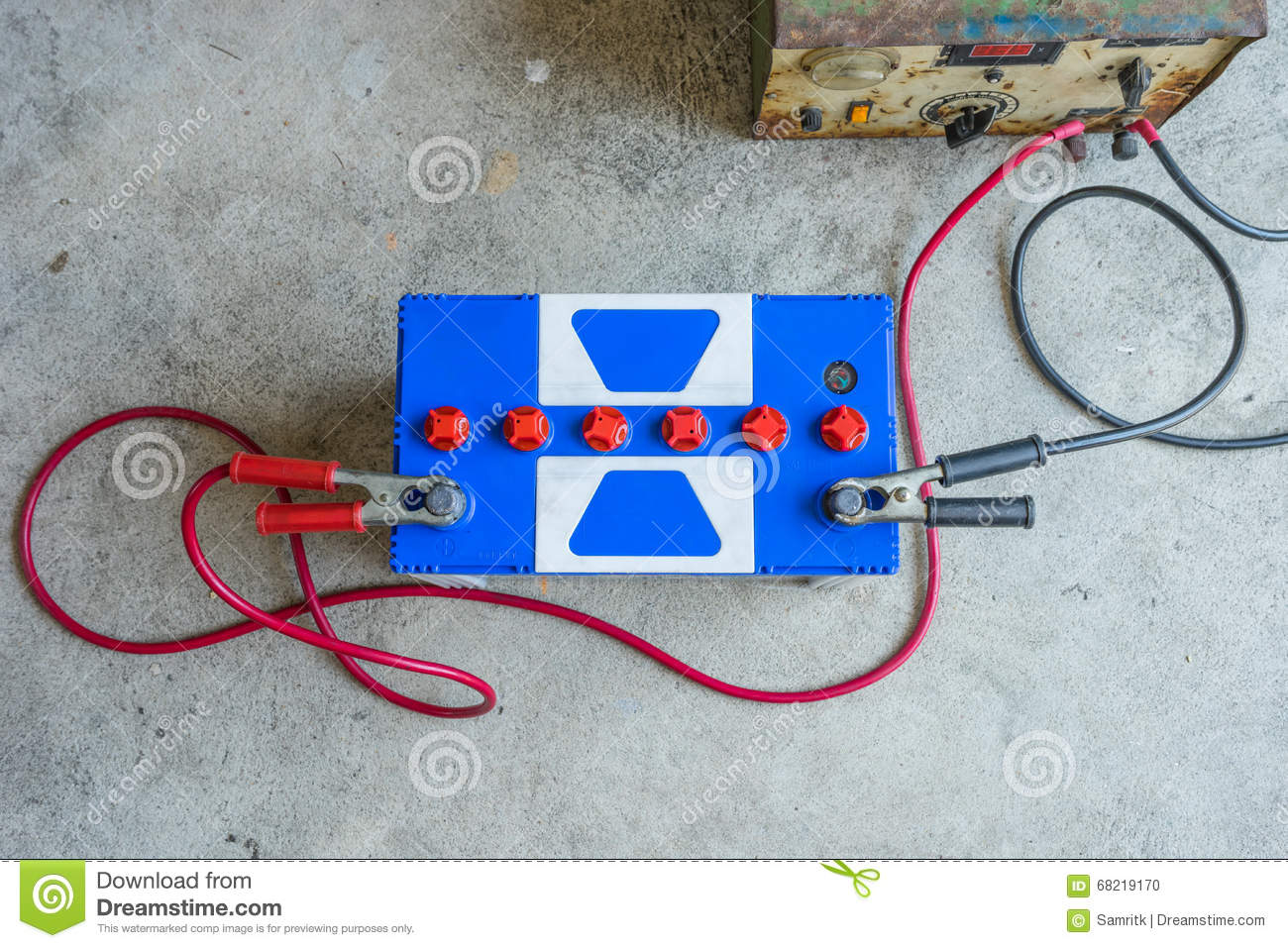 Car Battery Stock Photo Image Of Capacity Cables Electric 68219170