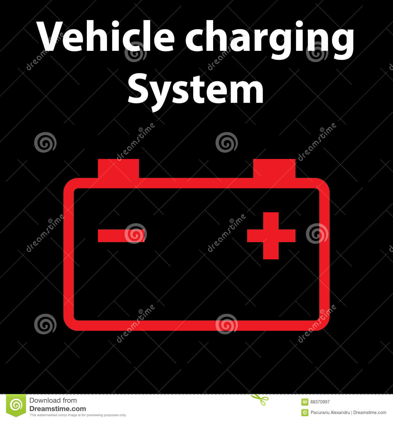 Car Battery Icon Electric Charging System Dashboard Warning - Car sign on dashboard