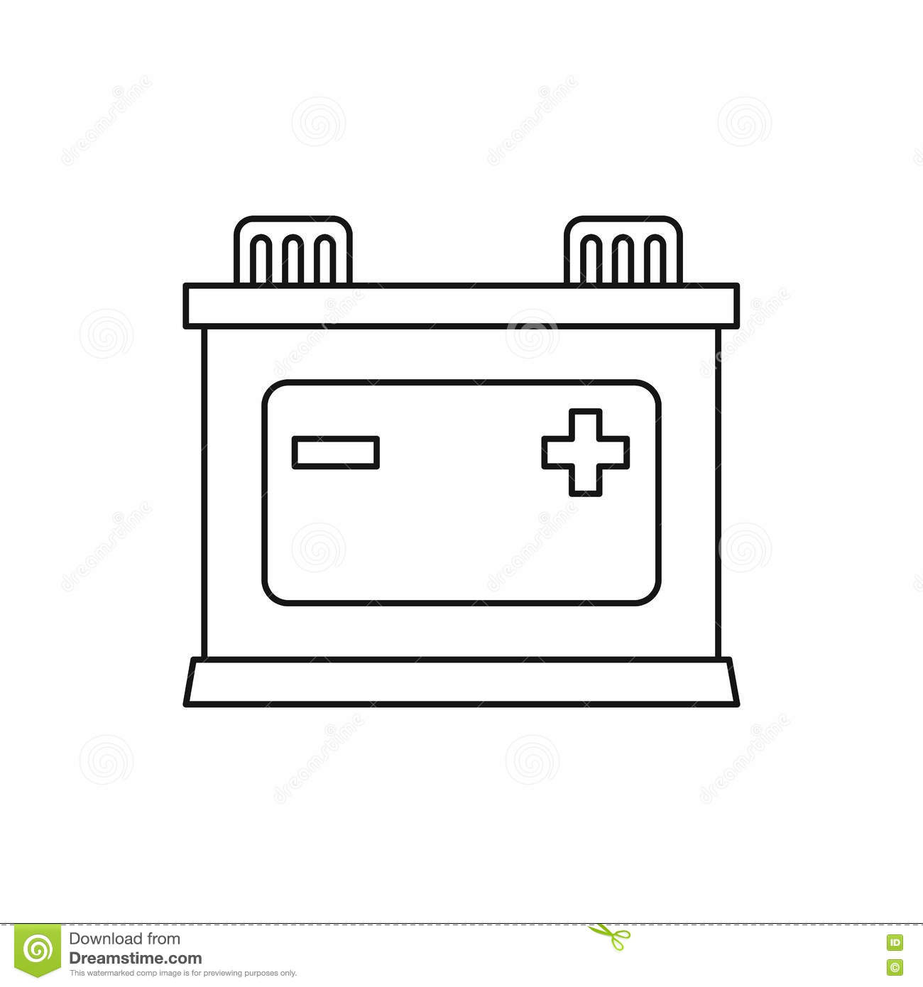 Car Battery Icon Outline Style Stock Vector Illustration Of Diagram