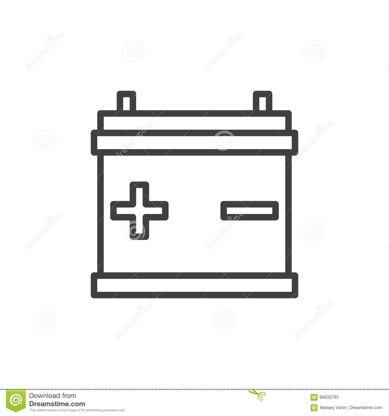 Car Battery Line Icon, Outline Vector Sign, Linear Style Pictogram ...