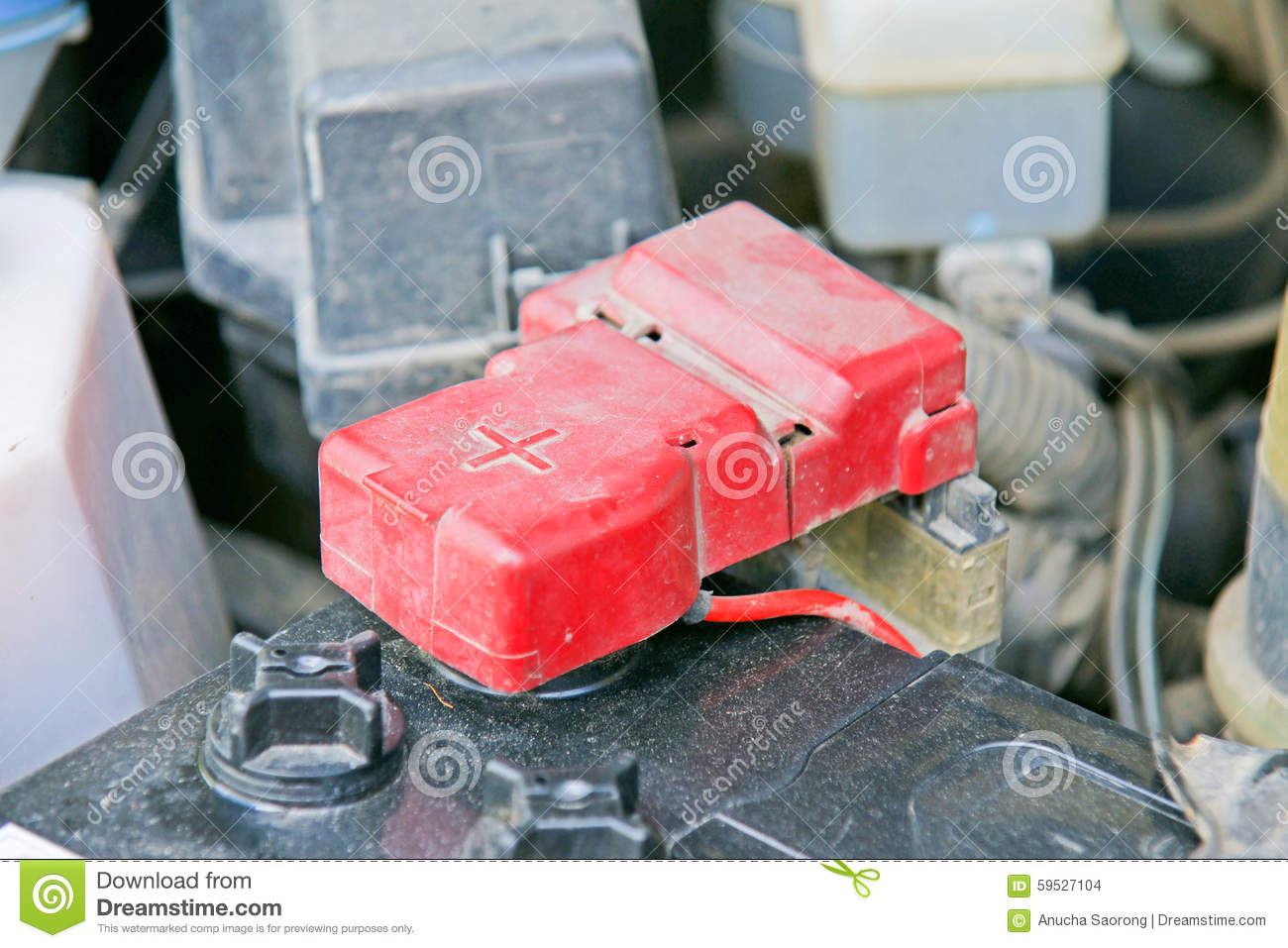 Car Battery With Red Positive Polarity Selective Focus Stock Photo