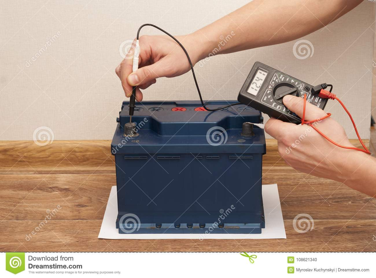 Car Battery Service Stock Photo Image Of Multimeter 108621340