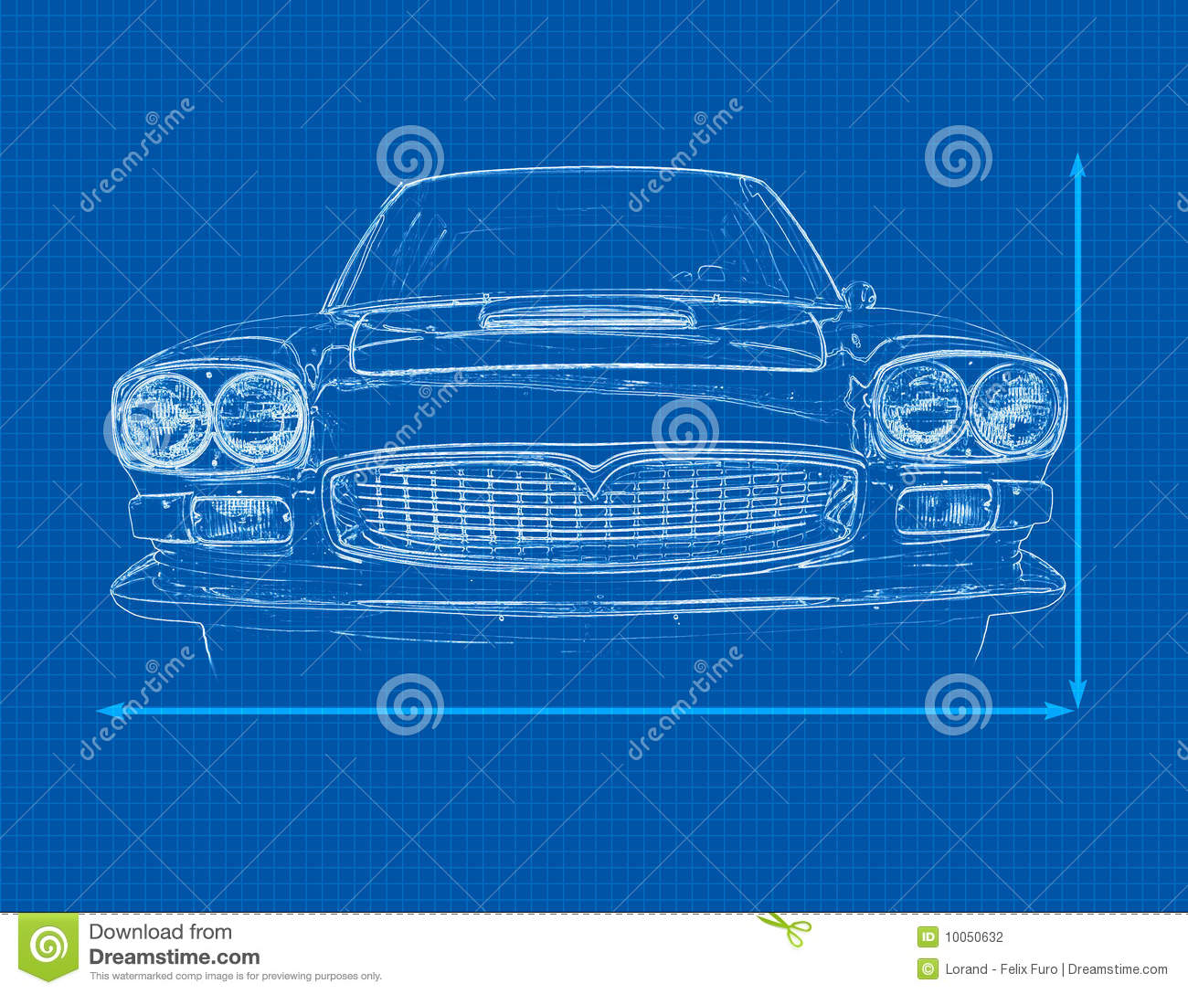 Car Blueprint stock illustration. Illustration of modelling - 10050632
