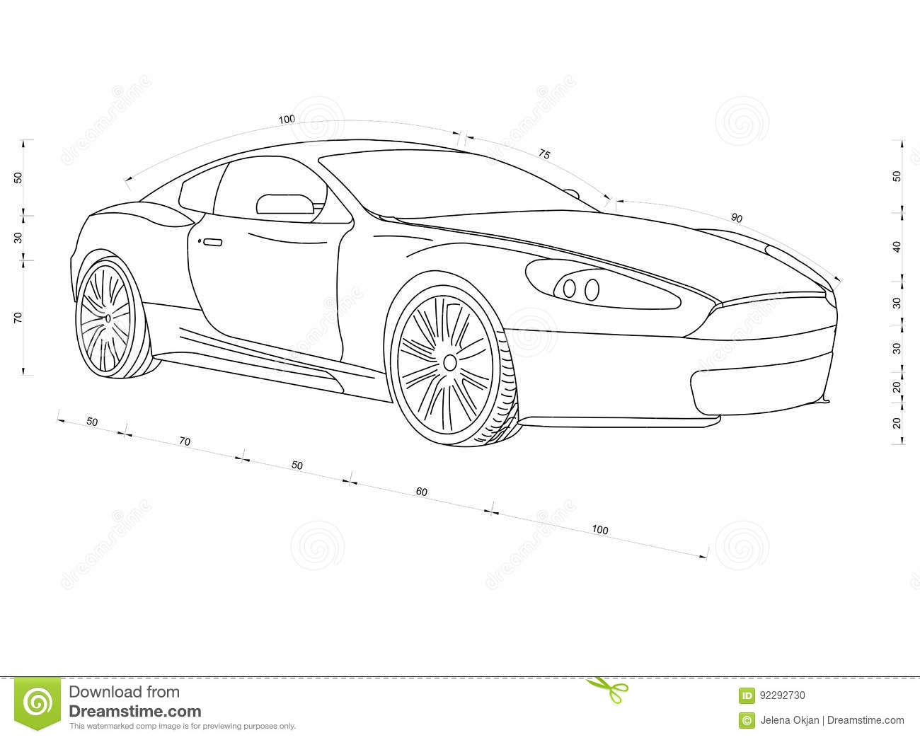 Car blueprint stock illustration illustration of gearing 92292730 car blueprint gearing outline malvernweather Choice Image