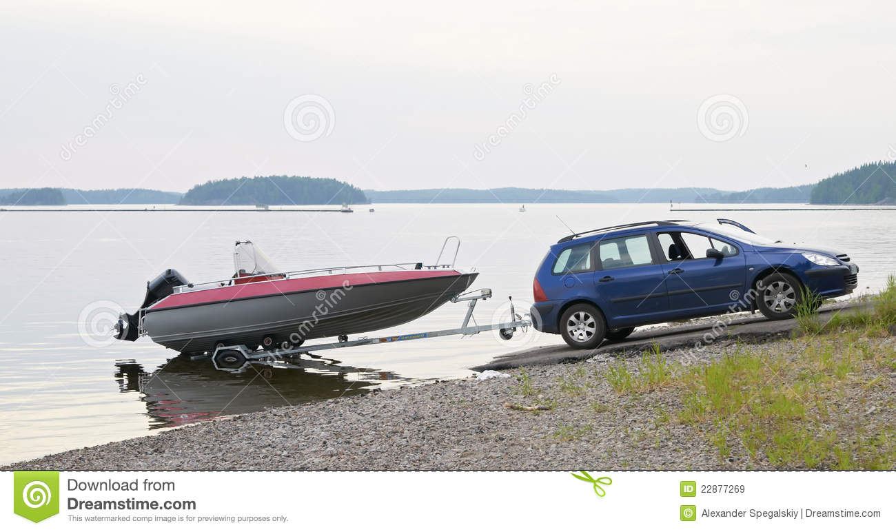 The Car With A Boat On The Trailer Royalty Free Stock Images - Image: 22877269