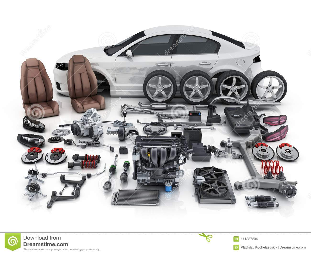 Car Body Disassembled And Many Vehicles Parts Stock Illustration ...