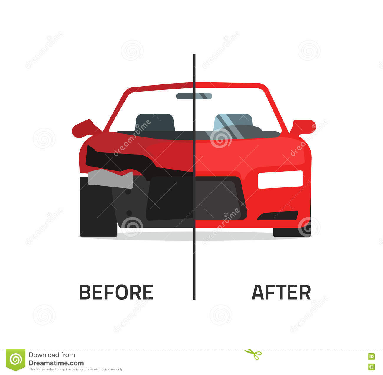 Car Body Frame Repair Service Vector Stock Vector - Illustration of ...