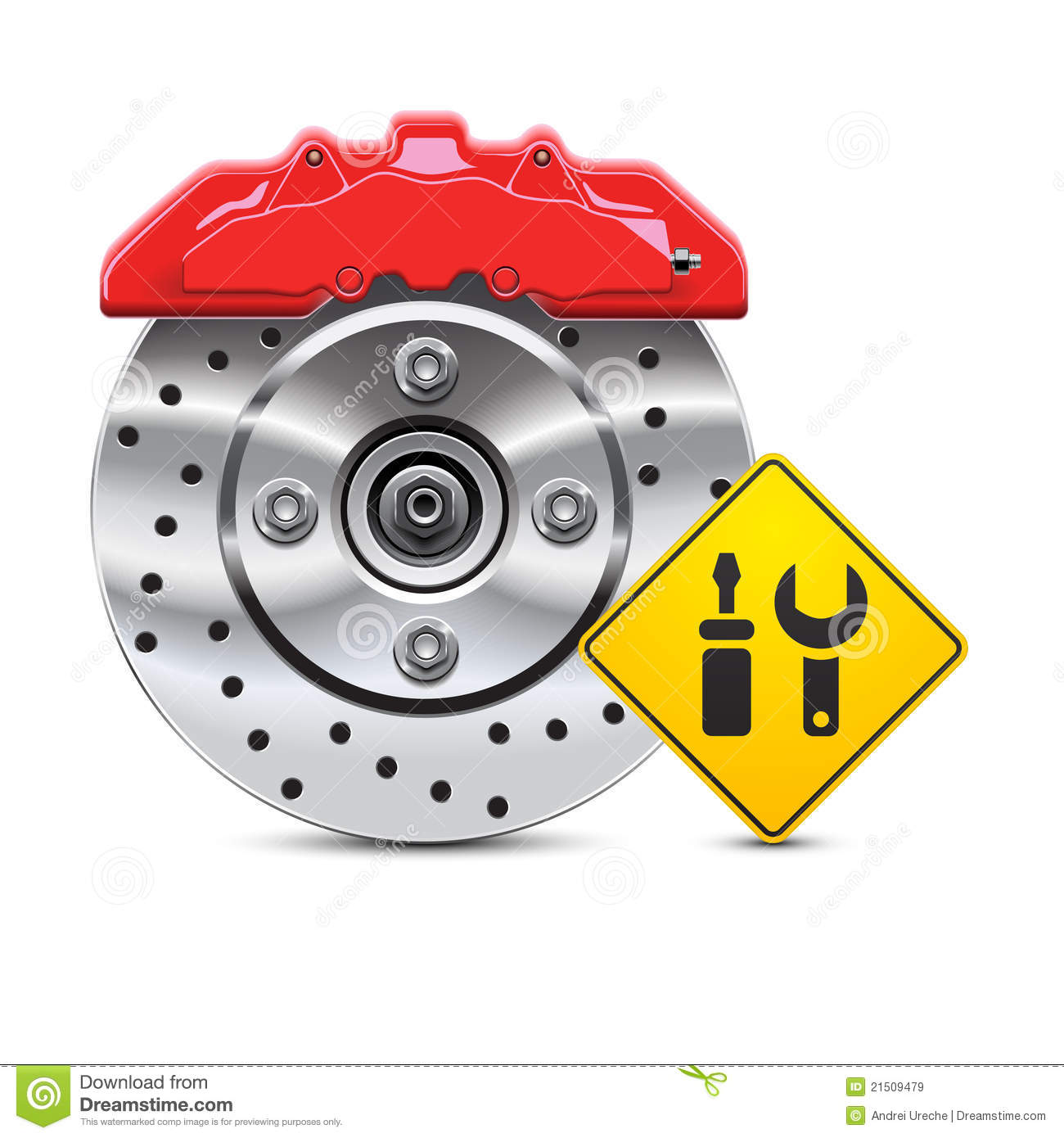 Car Brake Repair Service: Car Brake Disc Service Icon Stock Vector