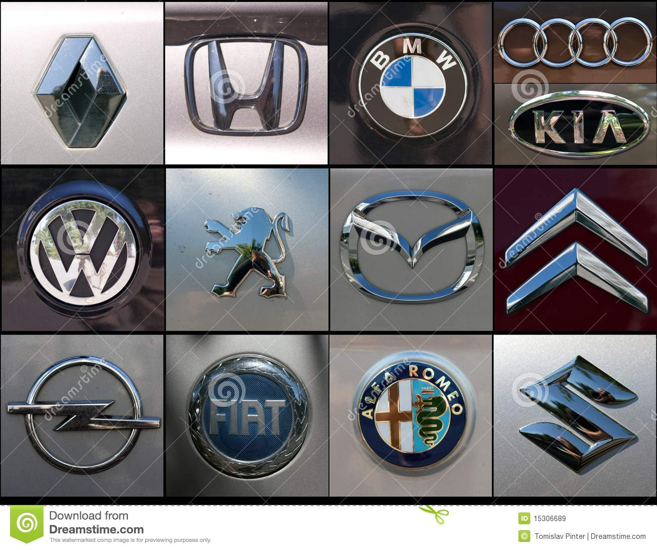 Car brands collage editorial stock image  Image of