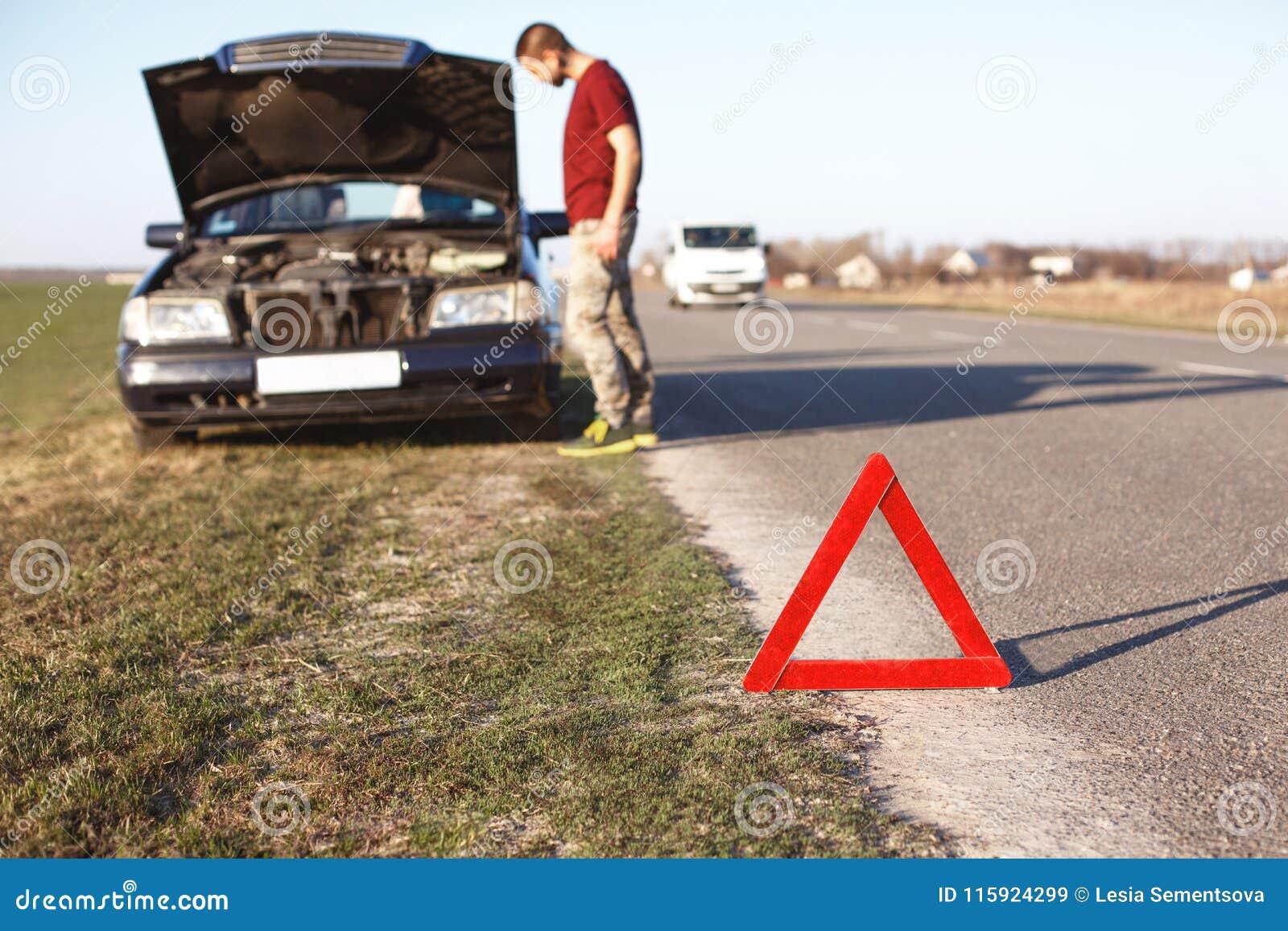 Car Breakdown Concept Helpless Man Driver Stands Near Brocken Auto