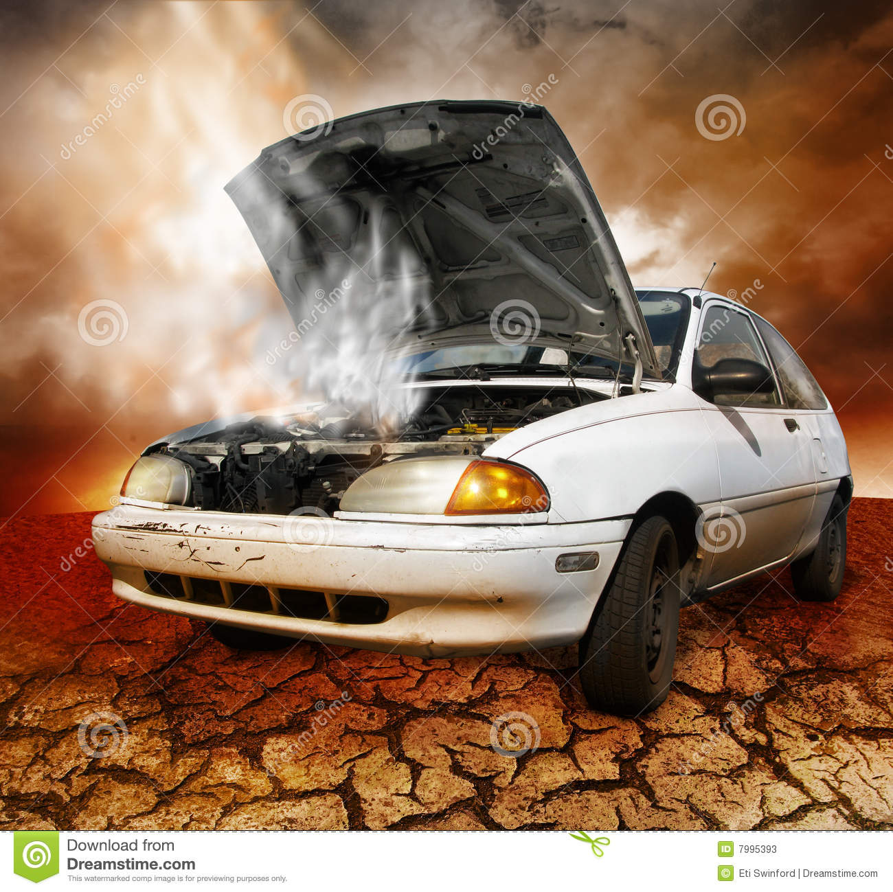 What To Do When Car Overheats >> Car broken down stock image. Image of highway, hood, automobile - 7995393