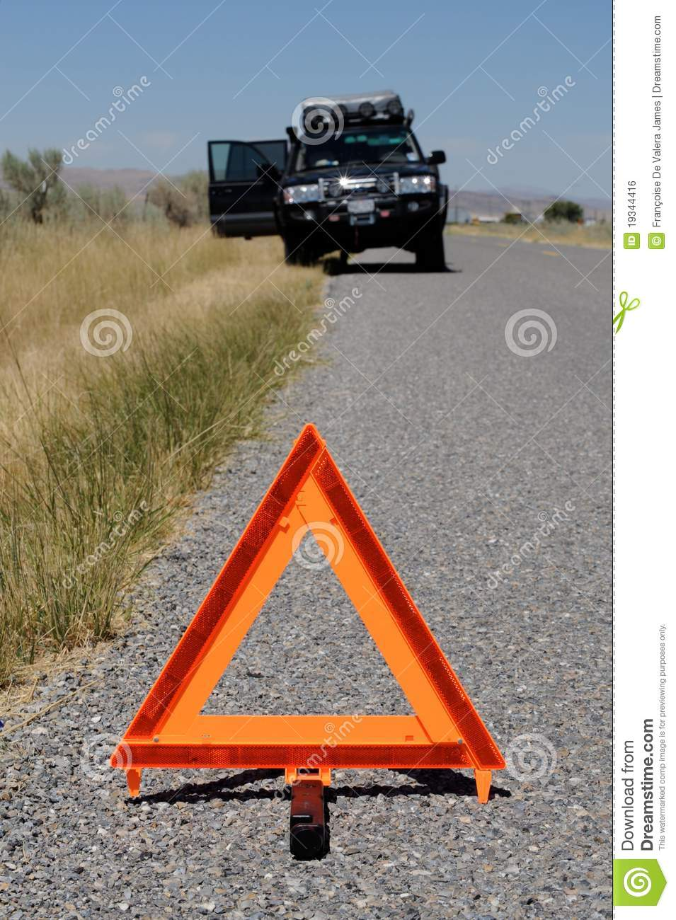 Broken Down Abandoned Stock Photos Broken Down Abandoned: Car Broken Down On Road With Warning Triangle Royalty Free