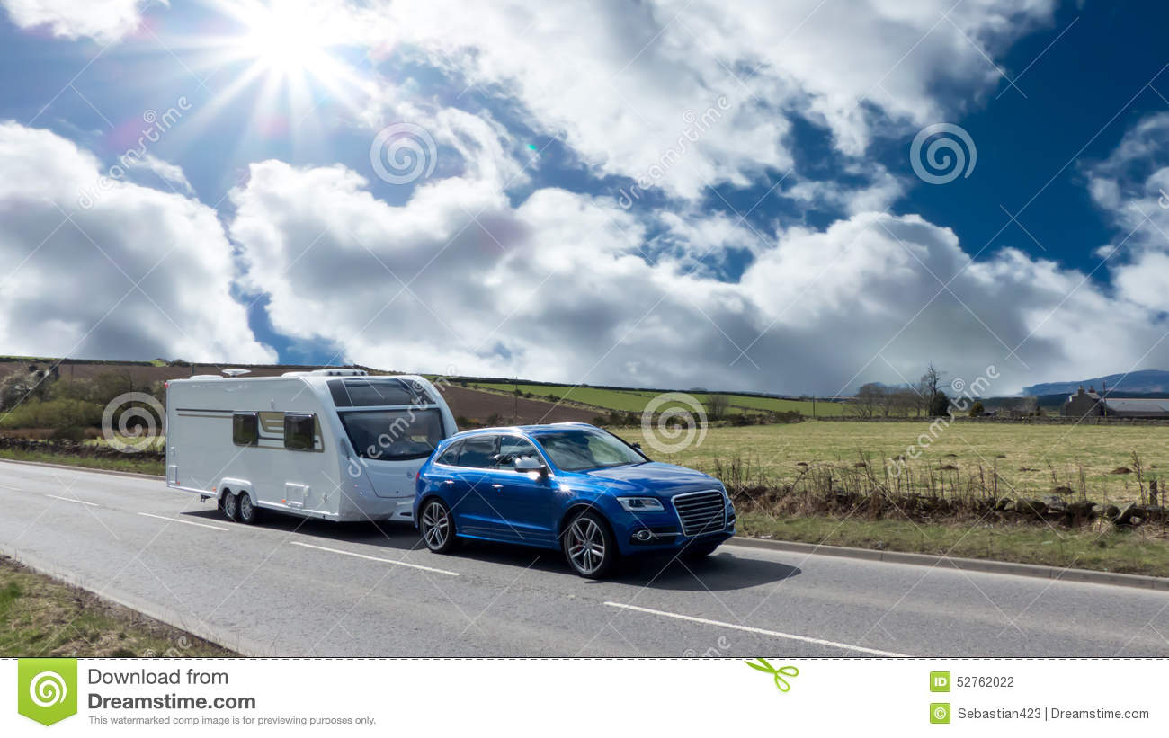 Car and Caravan on the road