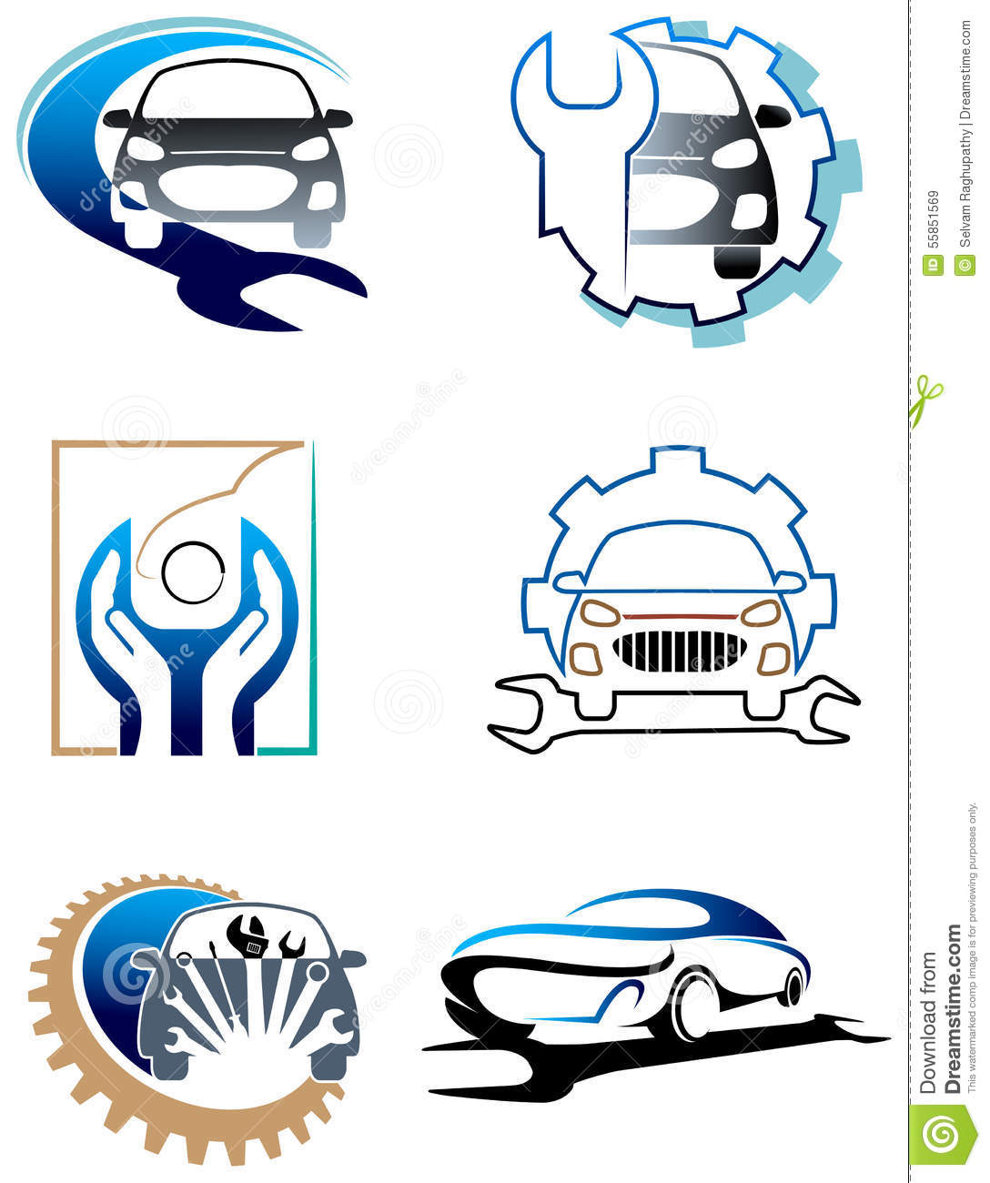 Car Care Logo Set Stock Vector Image Of Emblem Engine 55851569