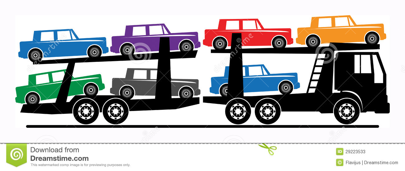 Car Carrier Truck Stock Vector Illustration Of Drive