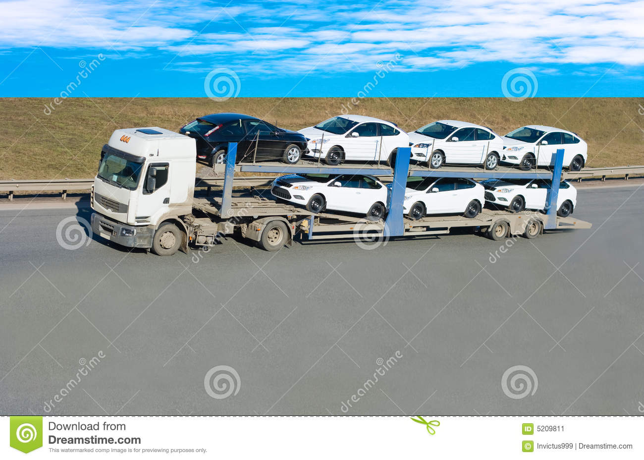 Car Carrier Truck Stock Image - Image: 5209811