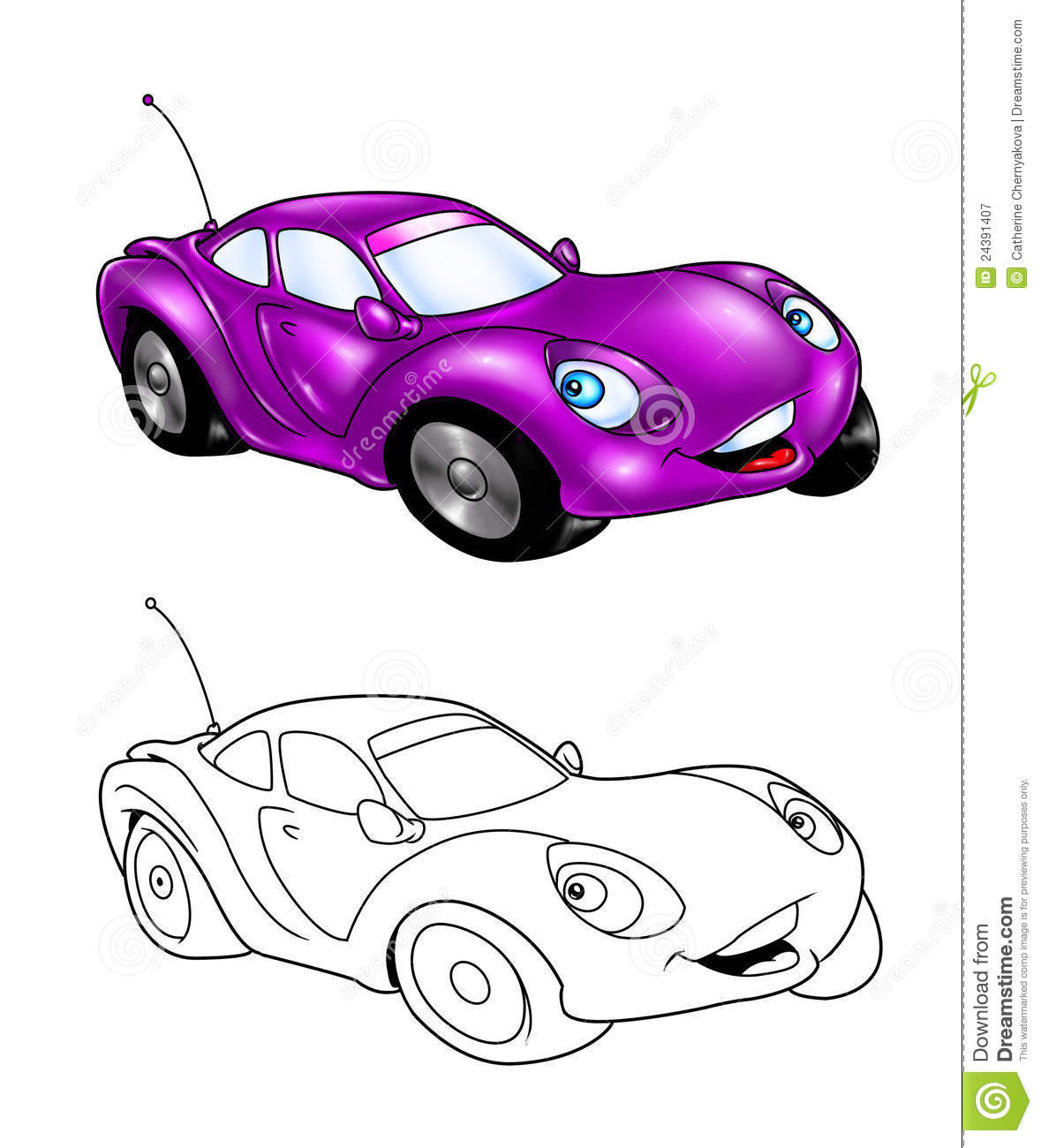 Car Cartoon Coloring Page 3 Stock Illustration ...
